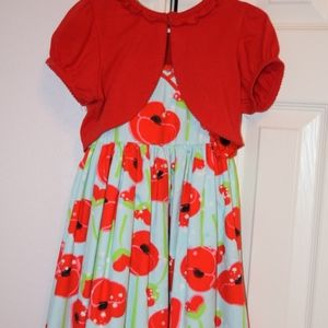 Designer floral girl's dress with matching cardiga